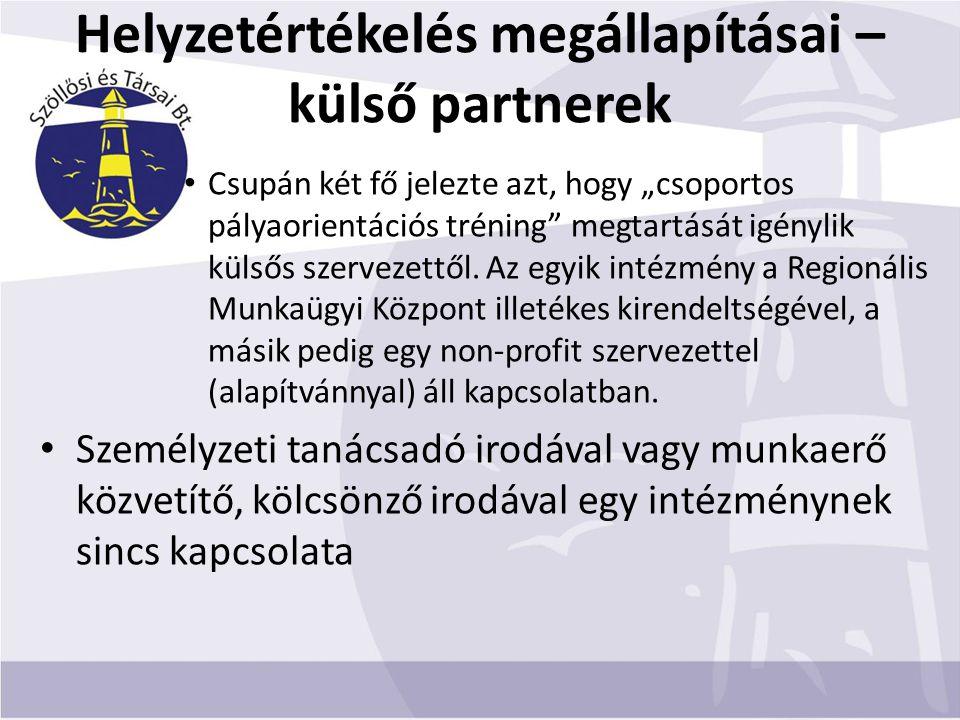 """Helyzetértékelés megállapításai – külső partnerek Csupán két fő jelezte azt, hogy """"csoportos pályaorientációs tréning megtartását igénylik külsős szervezettől."""