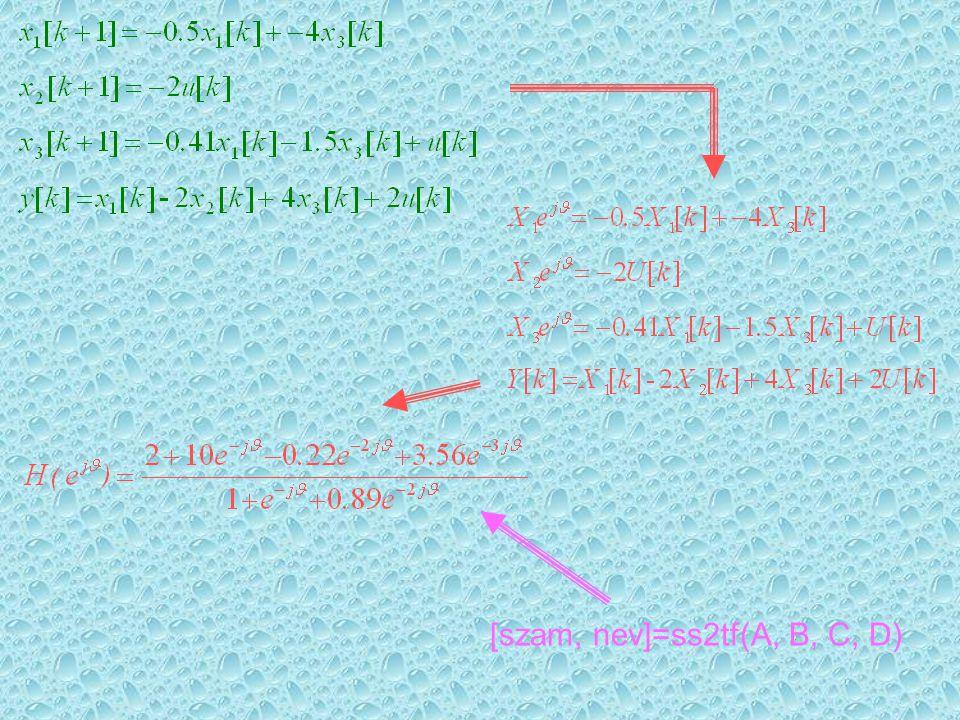 [szam, nev]=ss2tf(A, B, C, D)