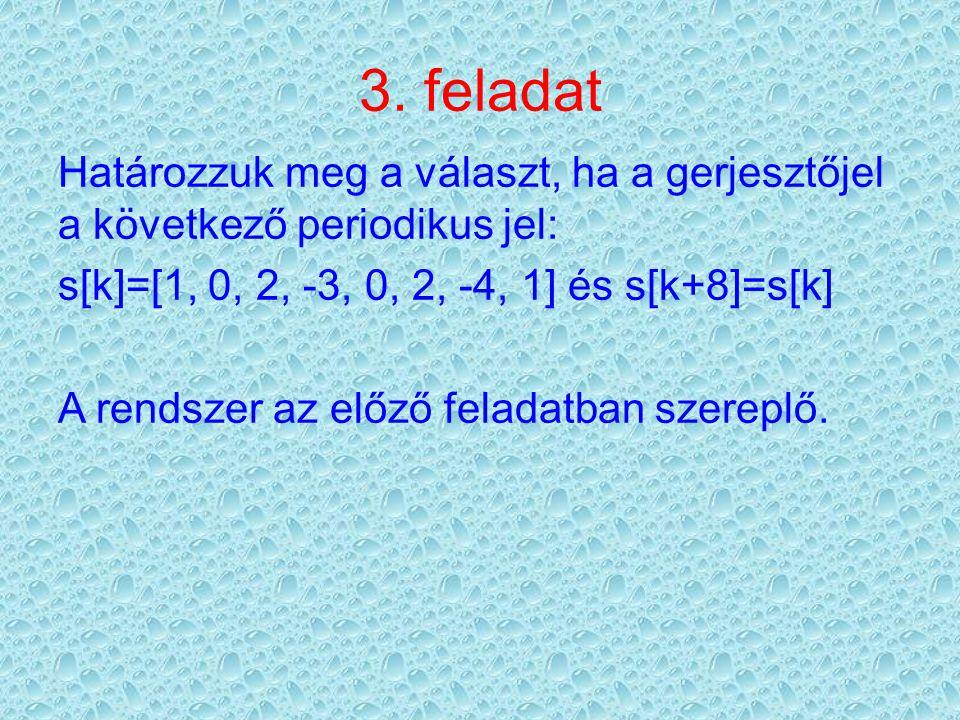 3. feladat Határozzuk meg a választ, ha a gerjesztőjel a következő periodikus jel: s[k]=[1, 0, 2, -3, 0, 2, -4, 1] és s[k+8]=s[k] A rendszer az előző