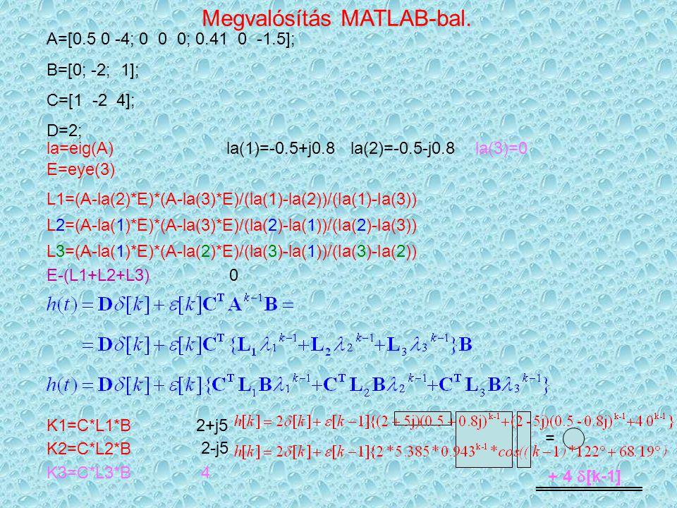 Megvalósítás MATLAB-bal.