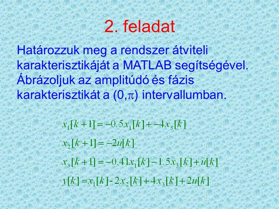 2. feladat Határozzuk meg a rendszer átviteli karakterisztikáját a MATLAB segítségével.