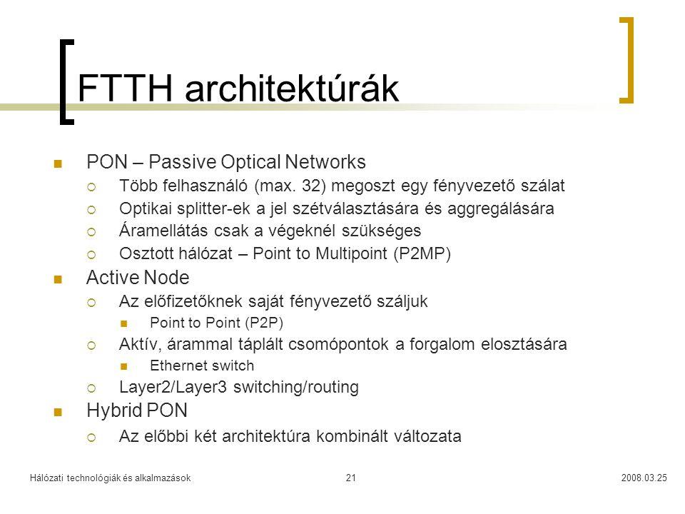 Hálózati technológiák és alkalmazások2008.03.2521 FTTH architektúrák PON – Passive Optical Networks  Több felhasználó (max. 32) megoszt egy fényvezet