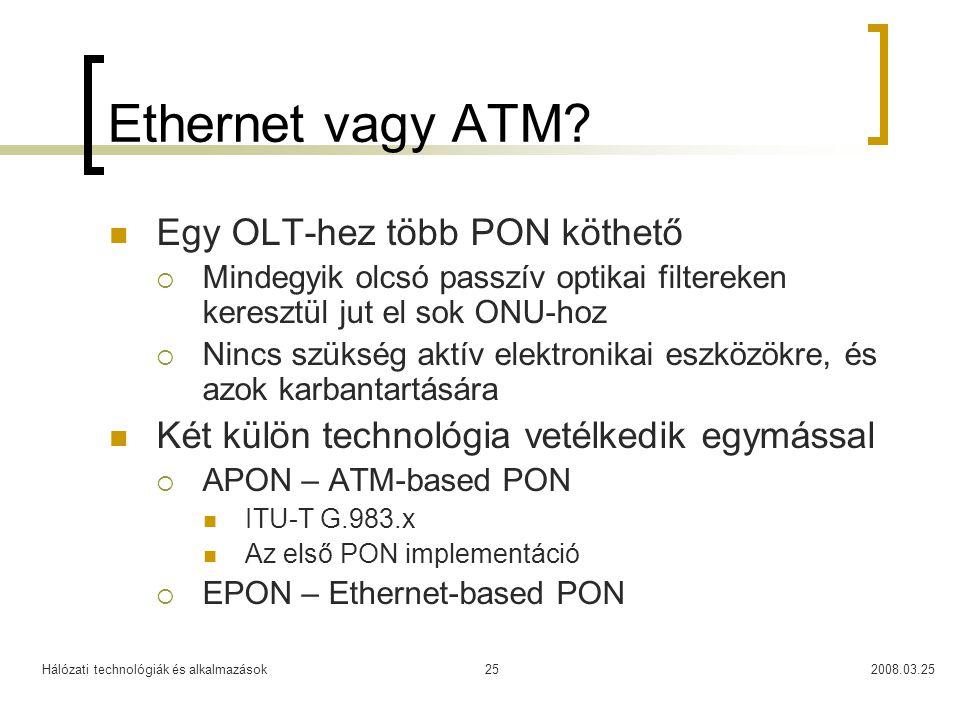 Hálózati technológiák és alkalmazások2008.03.2525 Ethernet vagy ATM? Egy OLT-hez több PON köthető  Mindegyik olcsó passzív optikai filtereken kereszt