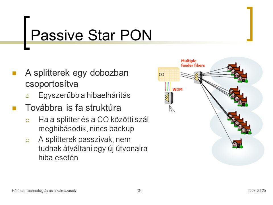 Hálózati technológiák és alkalmazások2008.03.2534 Passive Star PON A splitterek egy dobozban csoportosítva  Egyszerűbb a hibaelhárítás Továbbra is fa