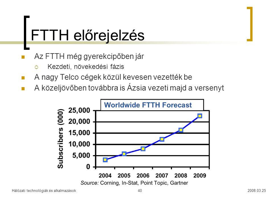Hálózati technológiák és alkalmazások2008.03.2540 FTTH előrejelzés Az FTTH még gyerekcipőben jár  Kezdeti, növekedési fázis A nagy Telco cégek közül