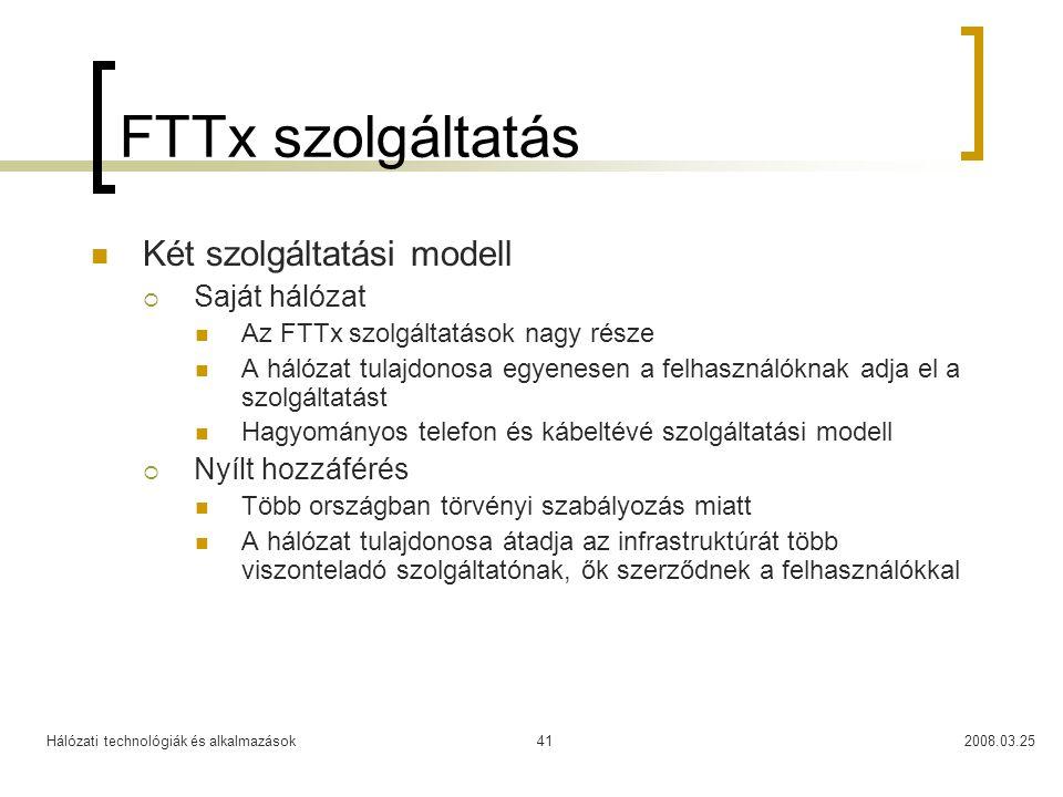 Hálózati technológiák és alkalmazások2008.03.2541 FTTx szolgáltatás Két szolgáltatási modell  Saját hálózat Az FTTx szolgáltatások nagy része A hálóz