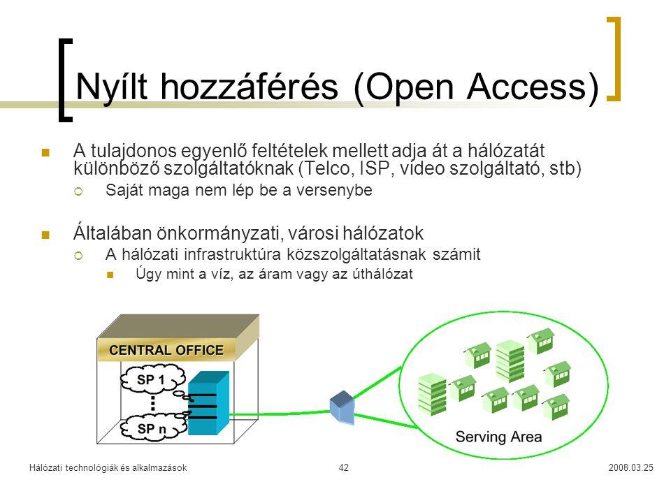Hálózati technológiák és alkalmazások2008.03.2542 Nyílt hozzáférés (Open Access) A tulajdonos egyenlő feltételek mellett adja át a hálózatát különböző