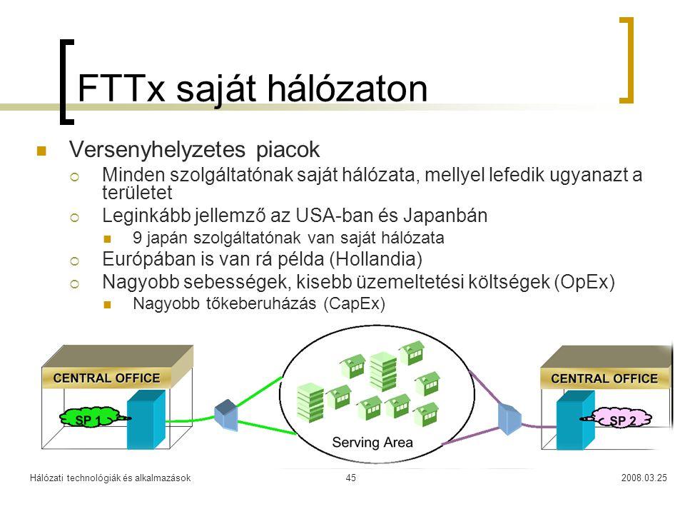 Hálózati technológiák és alkalmazások2008.03.2545 FTTx saját hálózaton Versenyhelyzetes piacok  Minden szolgáltatónak saját hálózata, mellyel lefedik