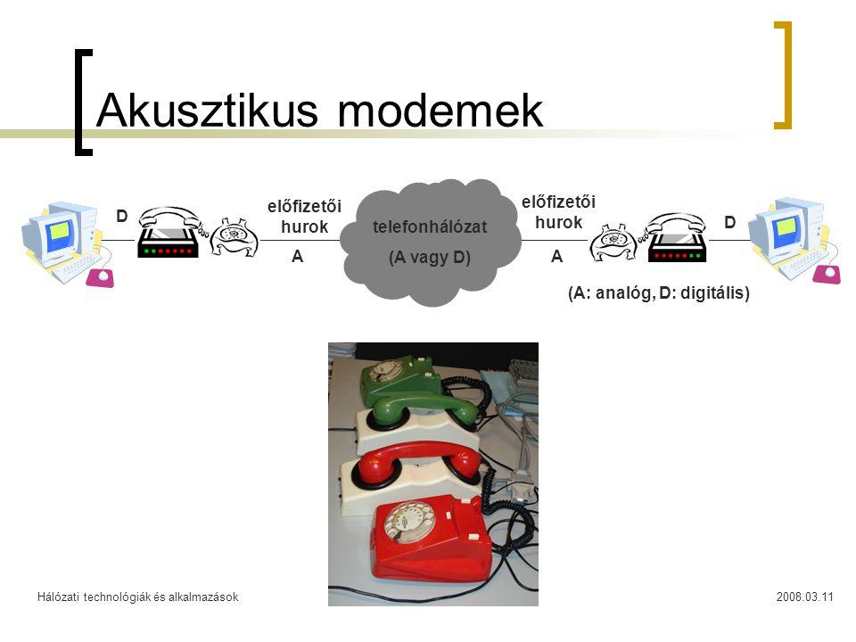 Hálózati technológiák és alkalmazások2008.03.1114 Akusztikus modemek előfizetői hurok telefonhálózat (A vagy D) AA D D (A: analóg, D: digitális)