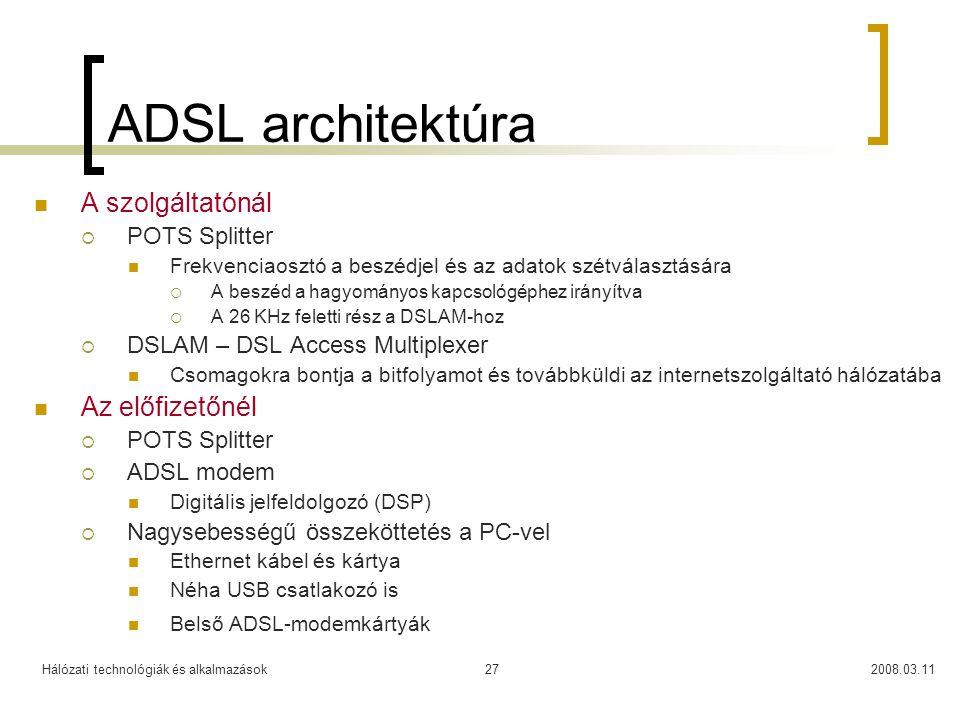 Hálózati technológiák és alkalmazások2008.03.1127 ADSL architektúra A szolgáltatónál  POTS Splitter Frekvenciaosztó a beszédjel és az adatok szétvála