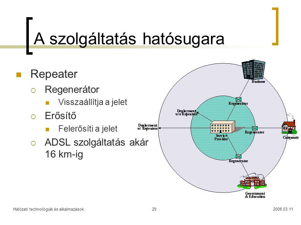Hálózati technológiák és alkalmazások2008.03.1129 A szolgáltatás hatósugara Repeater  Regenerátor Visszaállítja a jelet  Erősítő Felerősíti a jelet