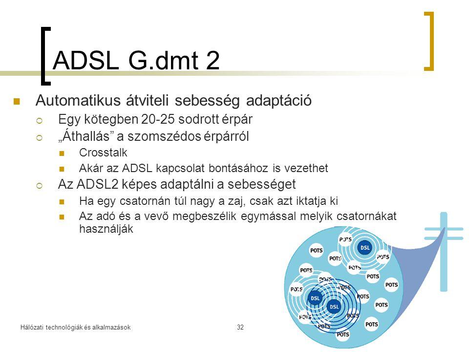 """Hálózati technológiák és alkalmazások2008.03.1132 ADSL G.dmt 2 Automatikus átviteli sebesség adaptáció  Egy kötegben 20-25 sodrott érpár  """"Áthallás"""""""