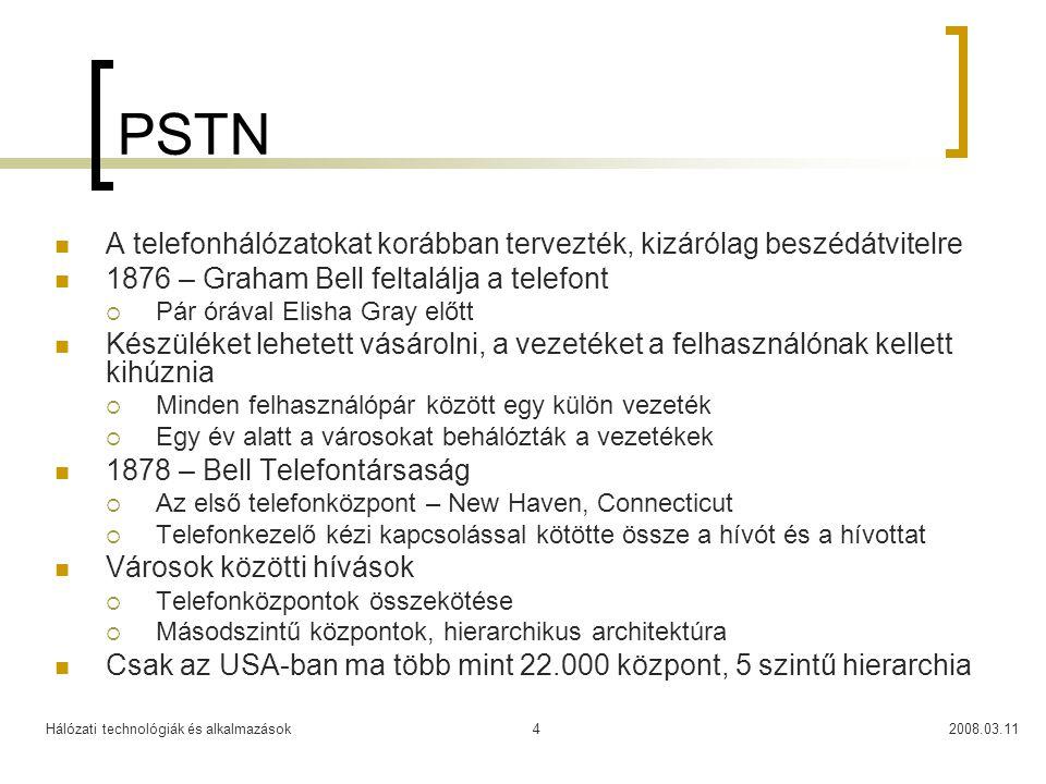 Hálózati technológiák és alkalmazások2008.03.114 PSTN A telefonhálózatokat korábban tervezték, kizárólag beszédátvitelre 1876 – Graham Bell feltalálja