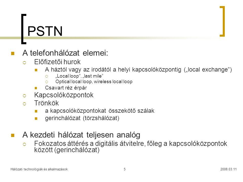Hálózati technológiák és alkalmazások2008.03.115 PSTN A telefonhálózat elemei:  Előfizetői hurok A háztól vagy az irodától a helyi kapcsolóközpontig