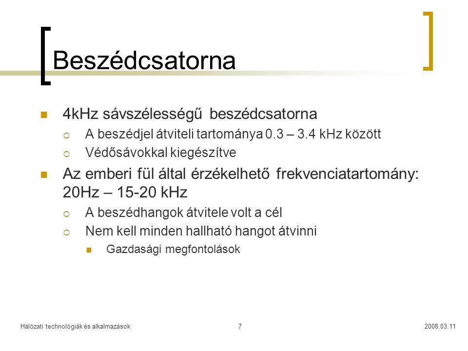 Hálózati technológiák és alkalmazások2008.03.117 Beszédcsatorna 4kHz sávszélességű beszédcsatorna  A beszédjel átviteli tartománya 0.3 – 3.4 kHz közö