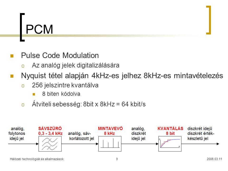Hálózati technológiák és alkalmazások2008.03.119 PCM Pulse Code Modulation  Az analóg jelek digitalizálására Nyquist tétel alapján 4kHz-es jelhez 8kH