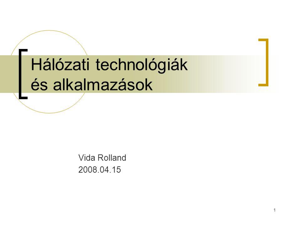 Hálózati technológiák és alkalmazások2008.04.1512 WEP működése Egy titkos k kulcs megosztva a kommunikáló felek között Egy csomag titkosítása:  Ellenőrző összeg ICV készítése az M üzenetből Integrity Check Value  A kettőt összemásoljuk P = érthető (még nem titkositott) üzenetet Sem az ICV sem P nem függ a k kulcstól  Titkosítás az RC4 algoritmussal: Egy v inicializáló vektort (IV) választunk Az RC4 egy hosszú kiterjesztett kulcsot generál – RC4(v,k) A kiterjesztett kulcsot XOR müvelettel összemásoljuk az üzenettel  Megkapjuk a C titkosított üzenetet, C = P xor RC4(v,k)  Közvetítés: Az IV-t és a C-t átküldjük a csatornán