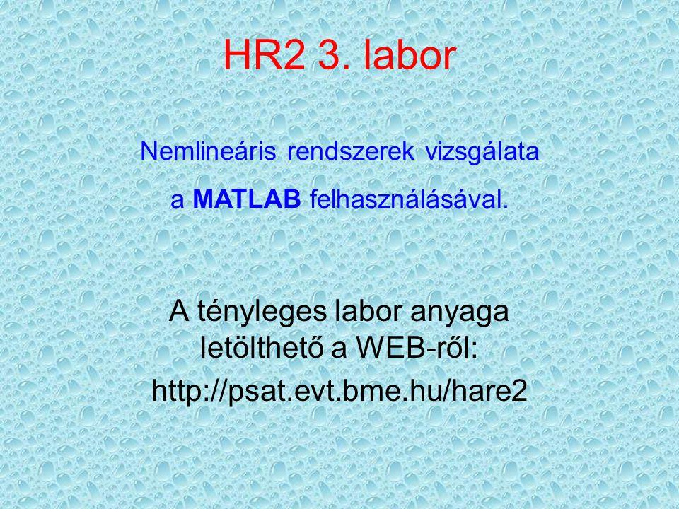 HR2 3. labor A tényleges labor anyaga letölthető a WEB-ről: http://psat.evt.bme.hu/hare2 Nemlineáris rendszerek vizsgálata a MATLAB felhasználásával.