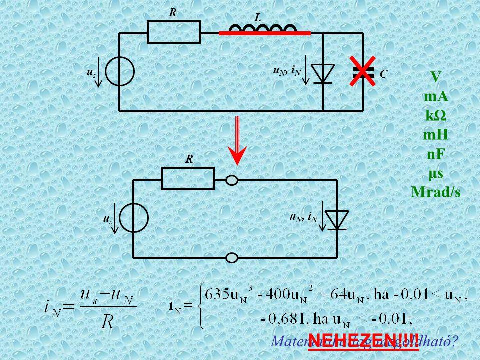 R u N, i N usus L C R usus Matematikailag megoldható NEHEZEN!!!! V mA kΩ mH nF μs Mrad/s
