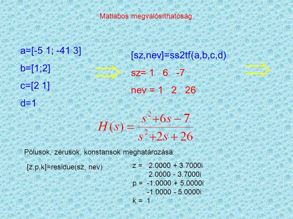 Matlabos megvalósíthatóság a=[-5 1; -41 3] b=[1;2] c=[2 1] d=1 [sz,nev]=ss2tf(a,b,c,d) sz= 1 6 -7 nev = 1 2 26 Pólusok, zérusok, konstansok meghatározása: [z,p,k]=residue(sz, nev) z = 2.0000 + 3.7000i 2.0000 - 3.7000i p = -1.0000 + 5.0000i -1.0000 - 5.0000i k = 1