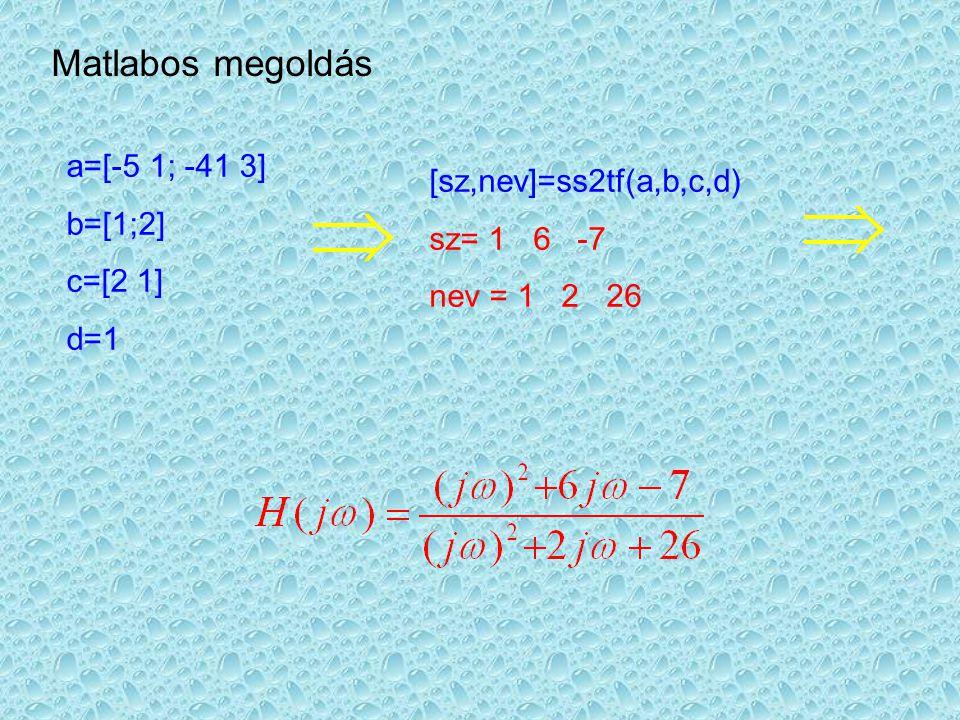 A Bode és Nyquist diagrammok bode(a,b,c,d) bode(sz,nev) nyquist(a,b,c,d) nyquist(sz,nev)
