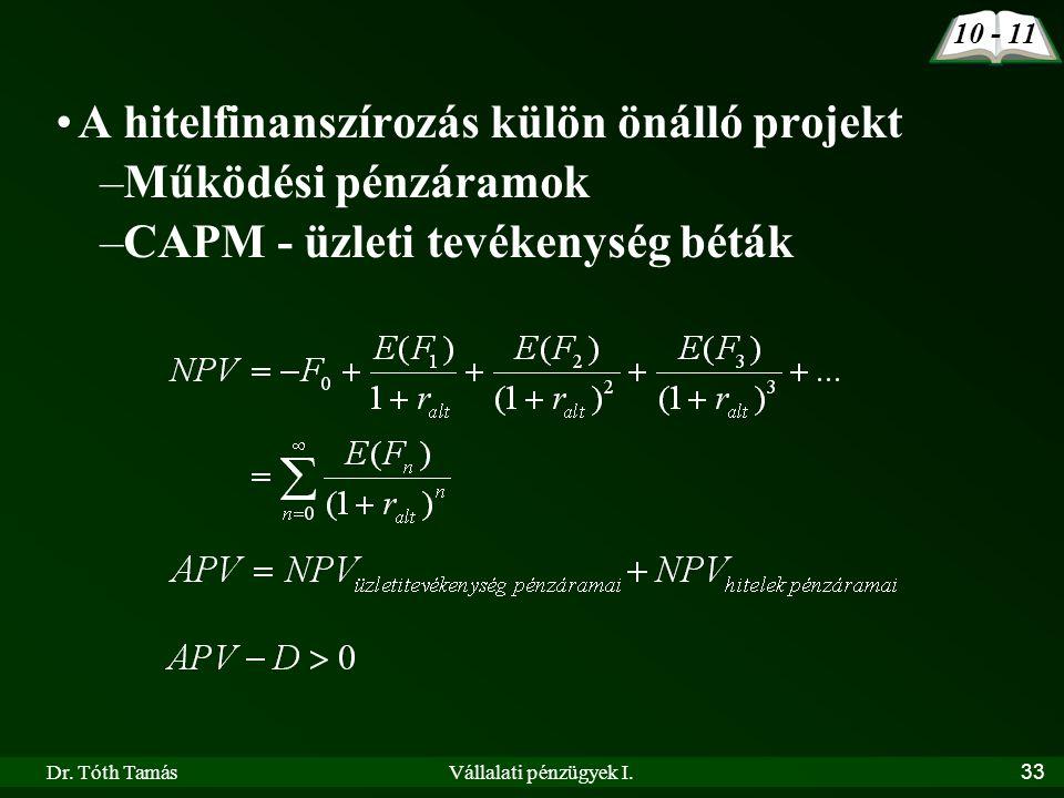 Dr. Tóth TamásVállalati pénzügyek I.33 A hitelfinanszírozás külön önálló projekt –Működési pénzáramok –CAPM - üzleti tevékenység béták 10 - 11