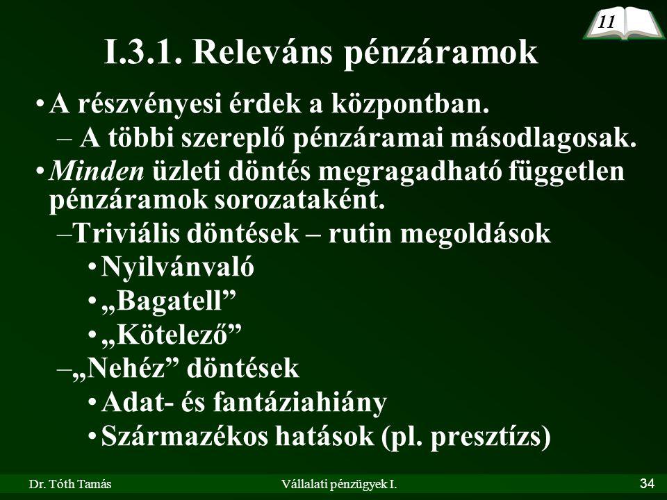 Dr. Tóth TamásVállalati pénzügyek I.34 I.3.1. Releváns pénzáramok 11 A részvényesi érdek a központban. – A többi szereplő pénzáramai másodlagosak. Min