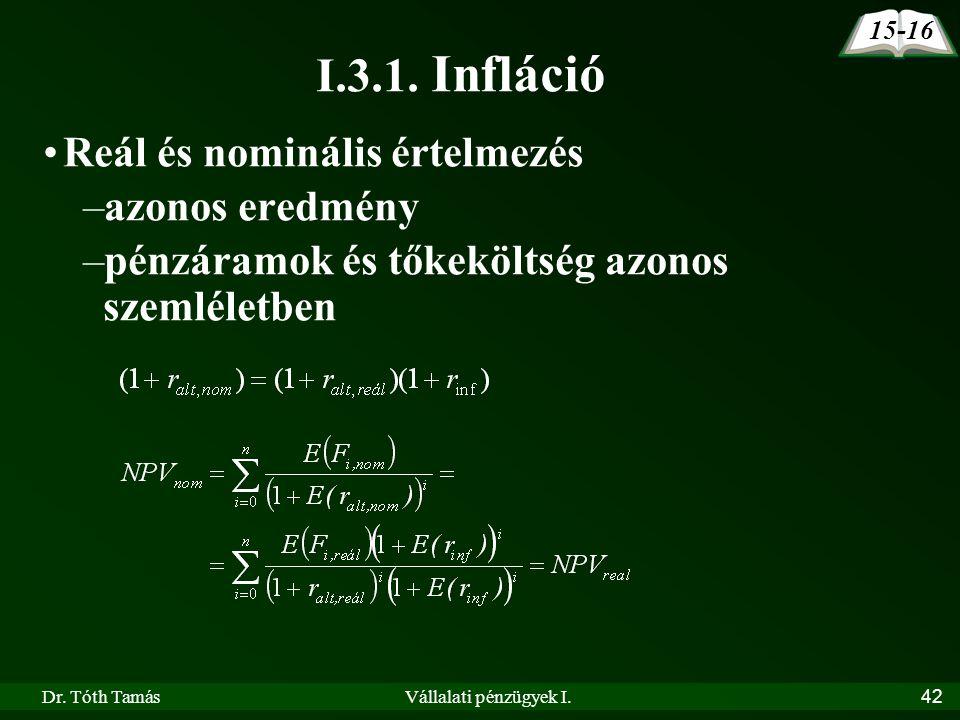 Dr. Tóth TamásVállalati pénzügyek I.42 15-16 I.3.1. Infláció Reál és nominális értelmezés –azonos eredmény –pénzáramok és tőkeköltség azonos szemlélet
