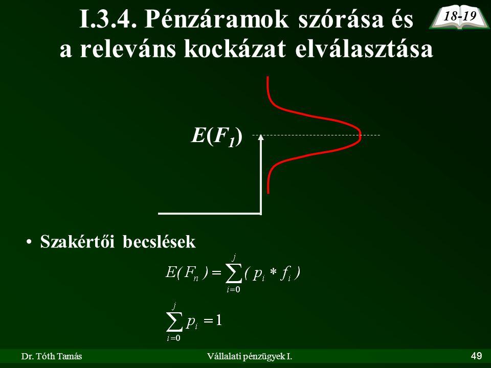 Dr. Tóth TamásVállalati pénzügyek I.49 I.3.4. Pénzáramok szórása és a releváns kockázat elválasztása 18-19 E(F1)E(F1) Szakértői becslések