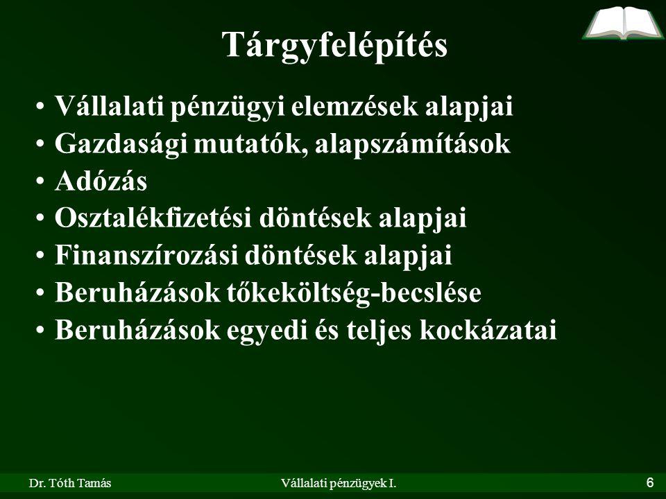 Dr.Tóth TamásVállalati pénzügyek I.57 Példa 1.