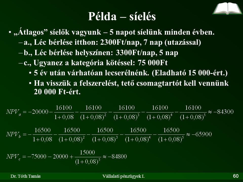 """Dr. Tóth TamásVállalati pénzügyek I.60 Példa – síelés """"Átlagos"""" síelők vagyunk – 5 napot síelünk minden évben. –a., Léc bérlése itthon: 2300Ft/nap, 7"""
