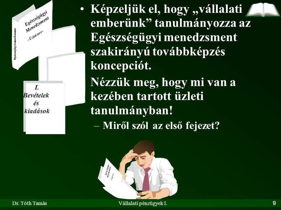 Dr. Tóth TamásVállalati pénzügyek I.9 Egészségügyi Menedzsment ~Üzleti terv~ Egészségügyi Menedzsment ~Üzleti terv~ Egészségügyi menedzsment I. Bevéte