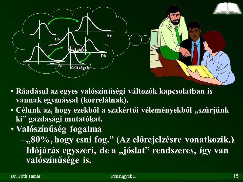 Dr. Tóth TamásPénzügyek I.15 Ráadásul az egyes valószínűségi változók kapcsolatban is vannak egymással (korrelálnak). Célunk az, hogy ezekből a szakér