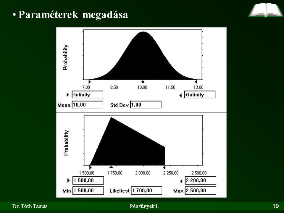 Dr. Tóth TamásPénzügyek I.19 Paraméterek megadása
