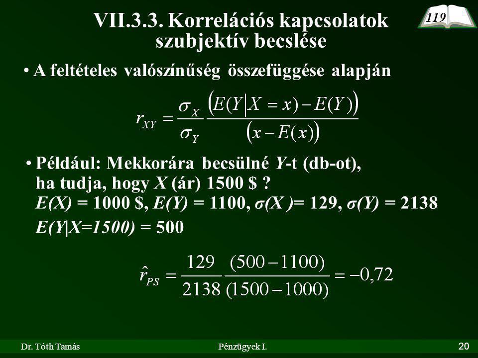 Dr.Tóth TamásPénzügyek I.20 A feltételes valószínűség összefüggése alapján VII.3.3.