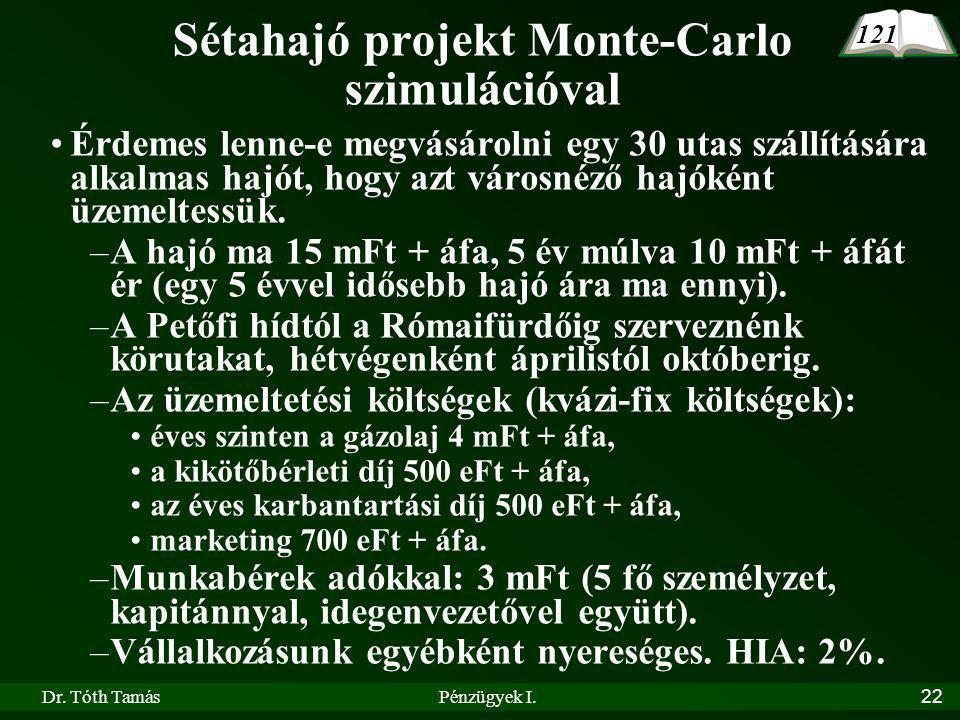 Dr. Tóth TamásPénzügyek I.22 Sétahajó projekt Monte-Carlo szimulációval Érdemes lenne-e megvásárolni egy 30 utas szállítására alkalmas hajót, hogy azt