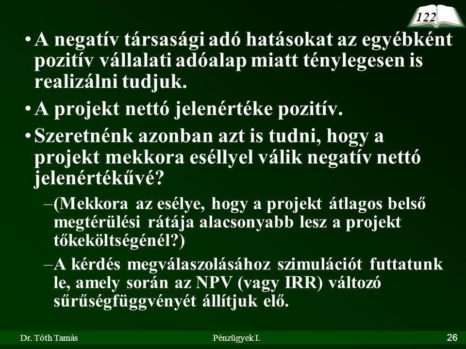 Dr. Tóth TamásPénzügyek I.26 A negatív társasági adó hatásokat az egyébként pozitív vállalati adóalap miatt ténylegesen is realizálni tudjuk. A projek