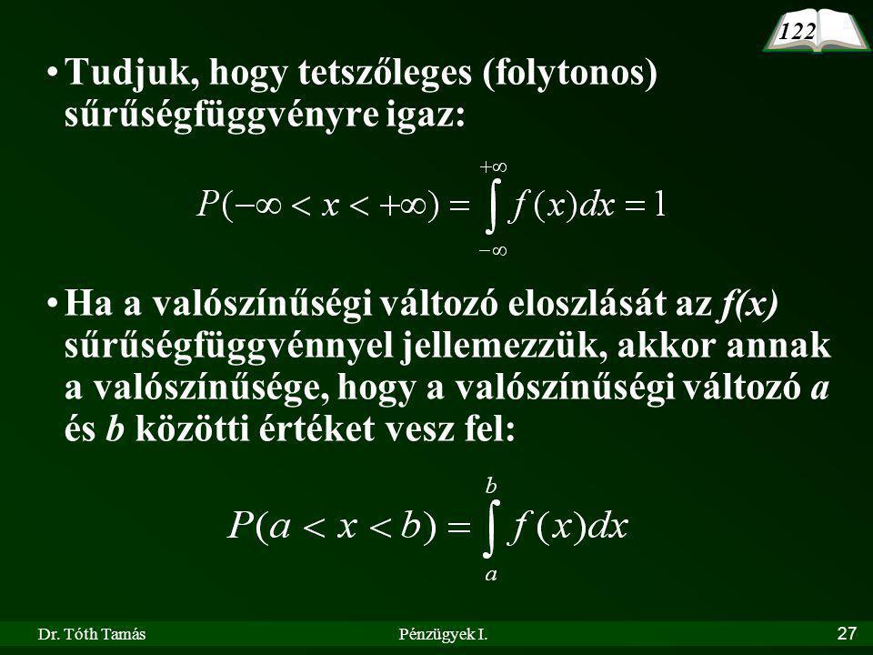Dr. Tóth TamásPénzügyek I.27 Tudjuk, hogy tetszőleges (folytonos) sűrűségfüggvényre igaz: Ha a valószínűségi változó eloszlását az f(x) sűrűségfüggvén