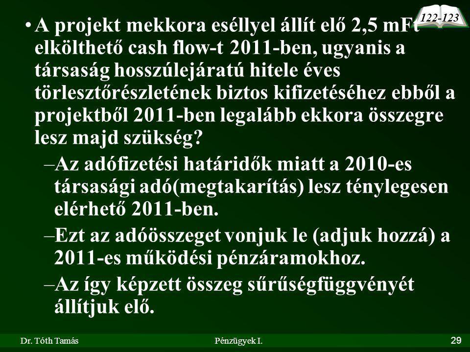 Dr. Tóth TamásPénzügyek I.29 A projekt mekkora eséllyel állít elő 2,5 mFt elkölthető cash flow-t 2011-ben, ugyanis a társaság hosszúlejáratú hitele év