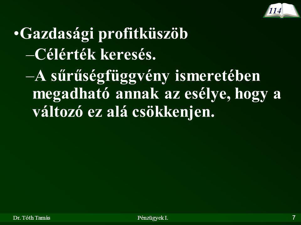 Dr.Tóth TamásPénzügyek I.7 Gazdasági profitküszöb –Célérték keresés.