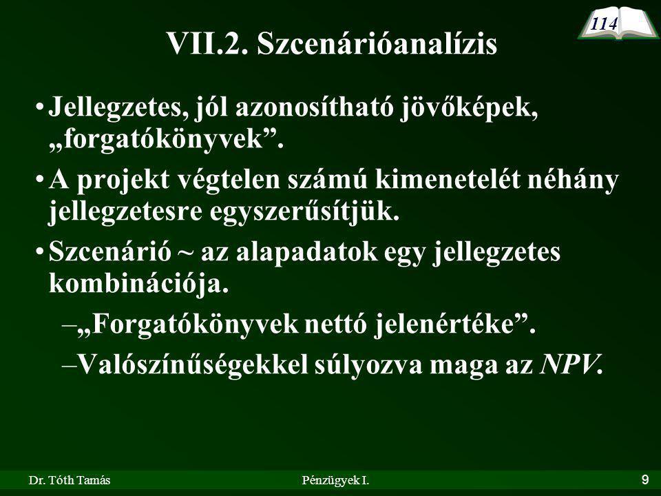 Dr.Tóth TamásPénzügyek I.30 A projekt 2011-ben legalább 2,5 mFt összeget 41% eséllyel állít elő.