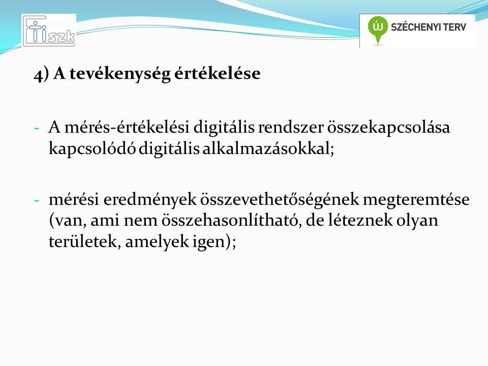 - A mérés-értékelési digitális rendszer összekapcsolása kapcsolódó digitális alkalmazásokkal; - mérési eredmények összevethetőségének megteremtése (van, ami nem összehasonlítható, de léteznek olyan területek, amelyek igen); 4) A tevékenység értékelése