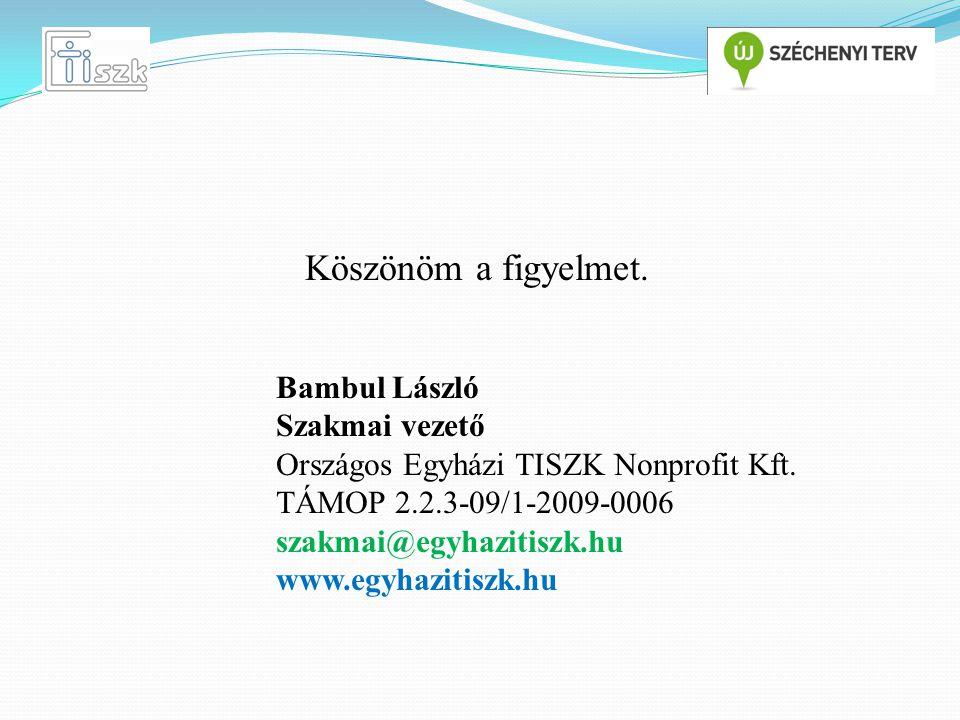 Köszönöm a figyelmet.Bambul László Szakmai vezető Országos Egyházi TISZK Nonprofit Kft.
