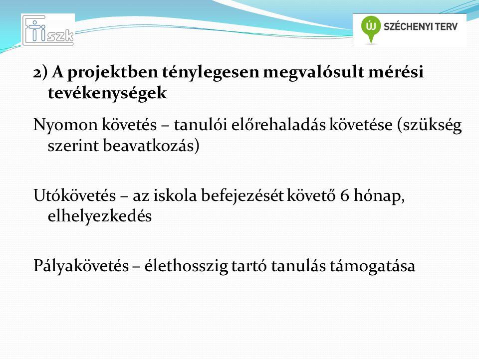 Fő tevékenység: Partneri elégedettség mérés (partnerek: tanulók, szülők, intézményvezetők, gazdasági szereplők) A mérés eszközei: - Nem szakmai kompetenciák kérdőívei - Mérésfeldolgozó útmutató 2) A projektben ténylegesen megvalósult mérési tevékenységek