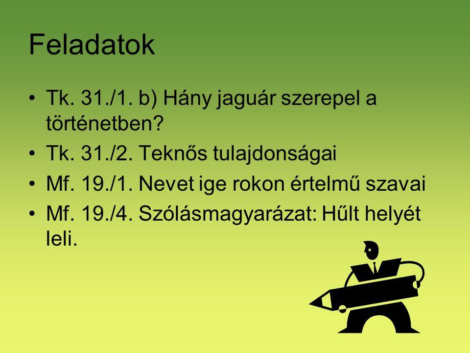Feladatok Tk. 31./1. b) Hány jaguár szerepel a történetben? Tk. 31./2. Teknős tulajdonságai Mf. 19./1. Nevet ige rokon értelmű szavai Mf. 19./4. Szólá