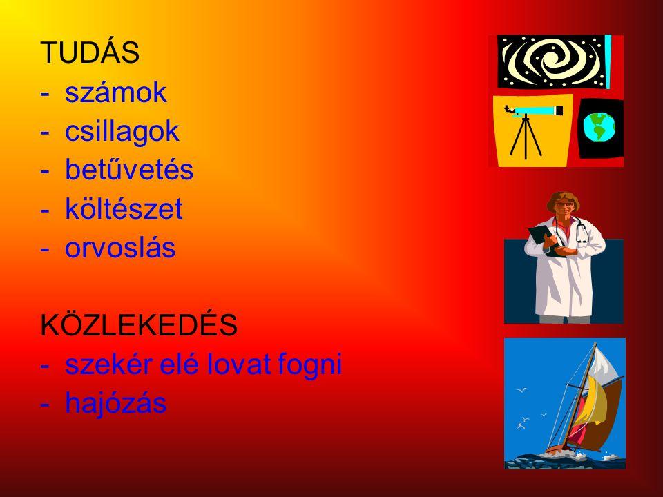 TUDÁS -számok -csillagok -betűvetés -költészet -orvoslás KÖZLEKEDÉS -szekér elé lovat fogni -hajózás