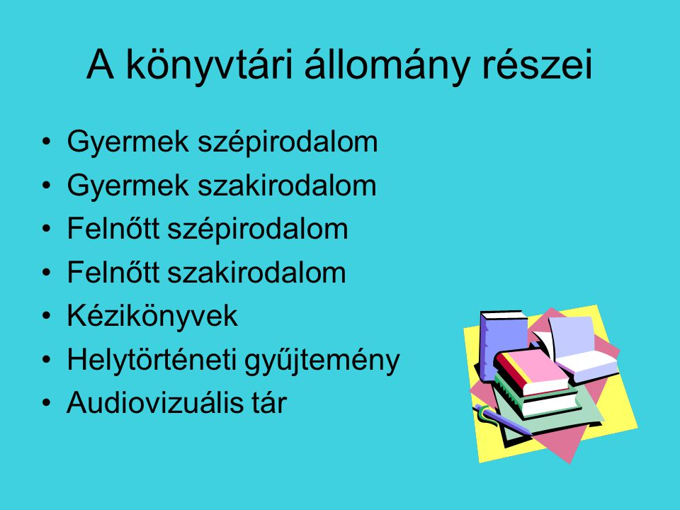 A kézikönyvek típusai lexikon - általános, vagy 1 tudományterület ismereteit gyűjti össze, -ábécérendben szerepelnek a szócikkek.