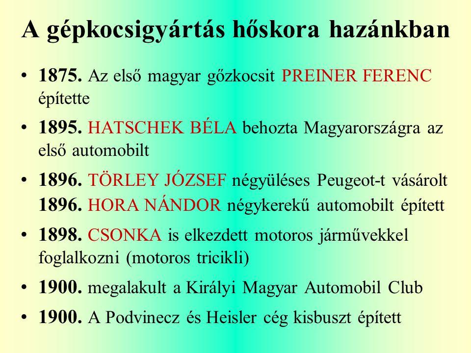 A gépkocsigyártás hőskora hazánkban 1875.Az első magyar gőzkocsit PREINER FERENC építette 1895.