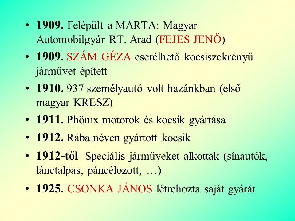 1909.Felépült a MARTA: Magyar Automobilgyár RT. Arad (FEJES JENŐ) 1909.