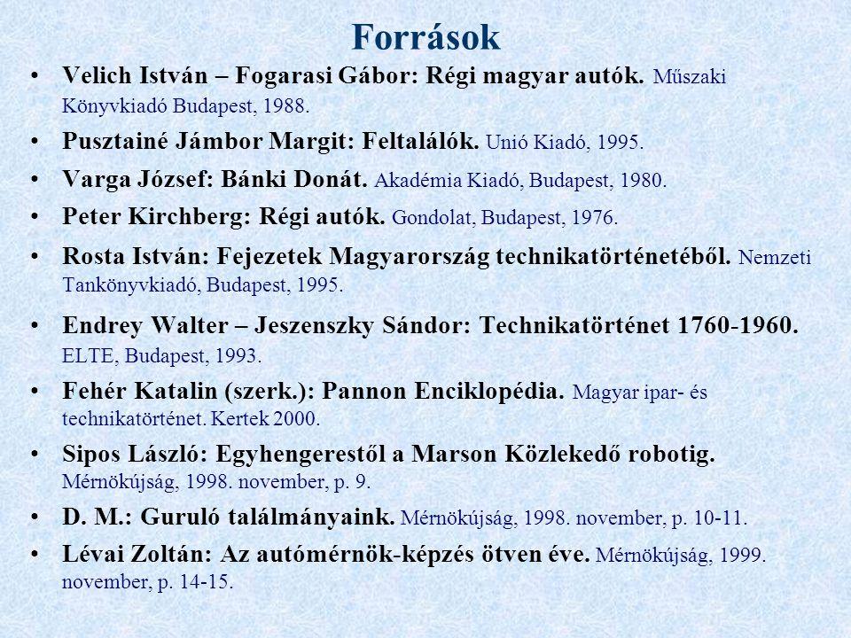 Források Velich István – Fogarasi Gábor: Régi magyar autók.